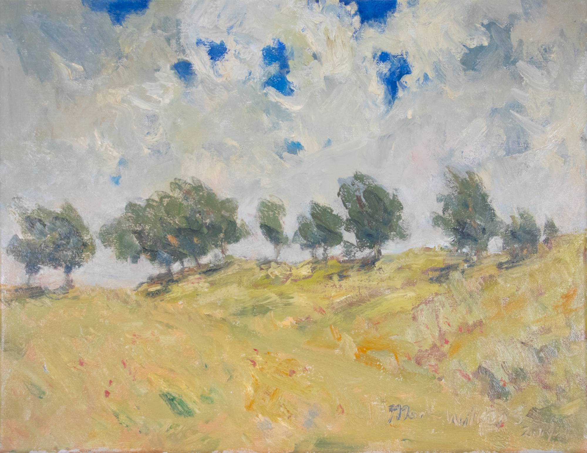 An art piece that features trees on grassy hills and clouds in the sky.